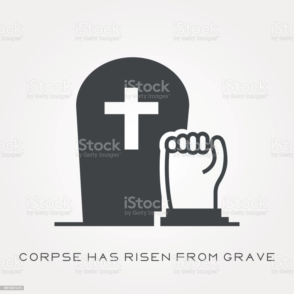 Silhouette icon corpse has risen from grave vector art illustration