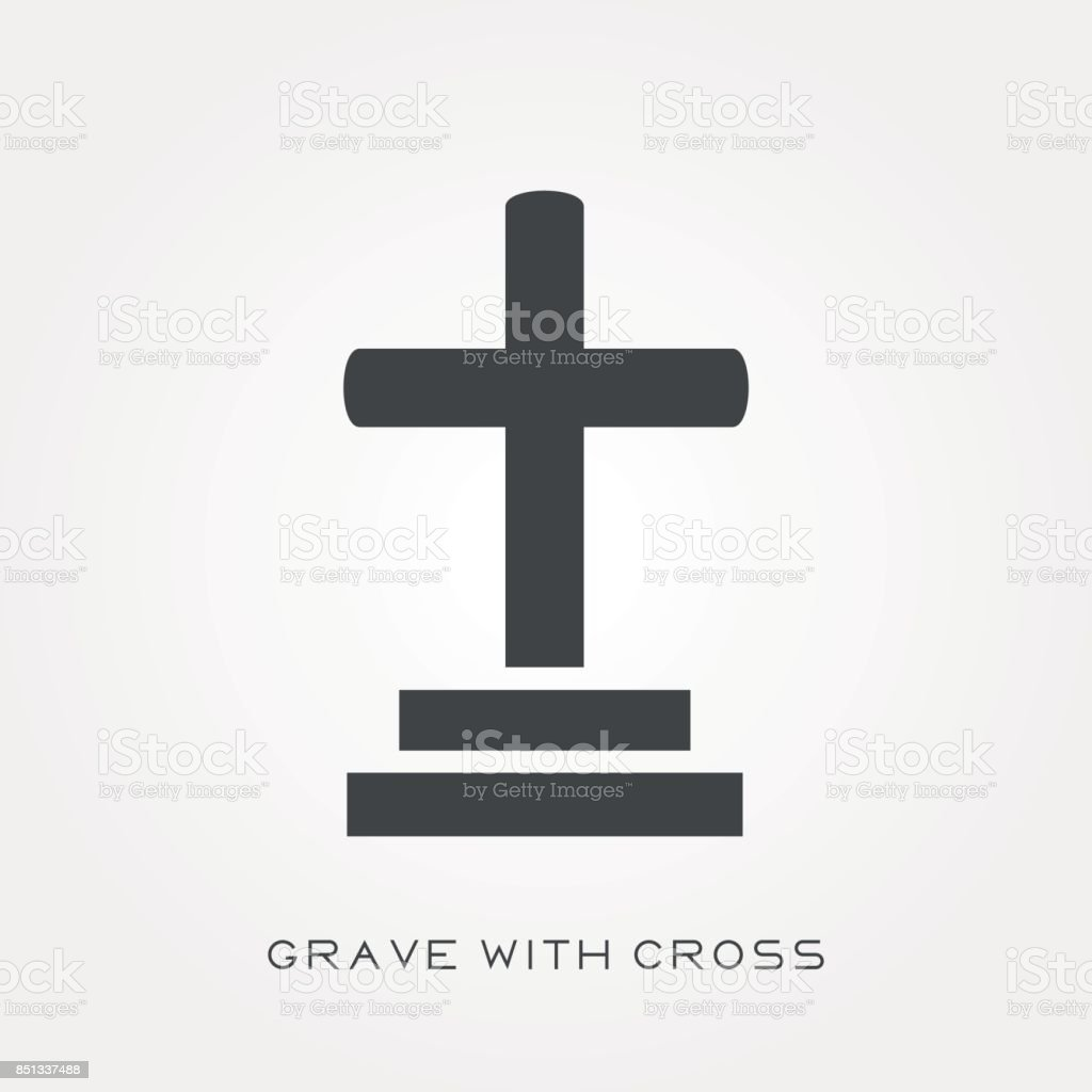 Silhouette icon grave with cross vector art illustration