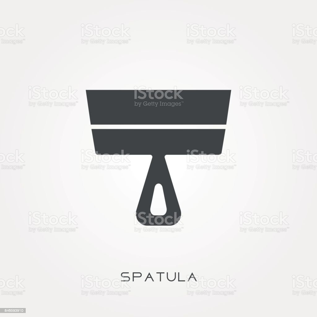 Silhouette icon spatula vector art illustration