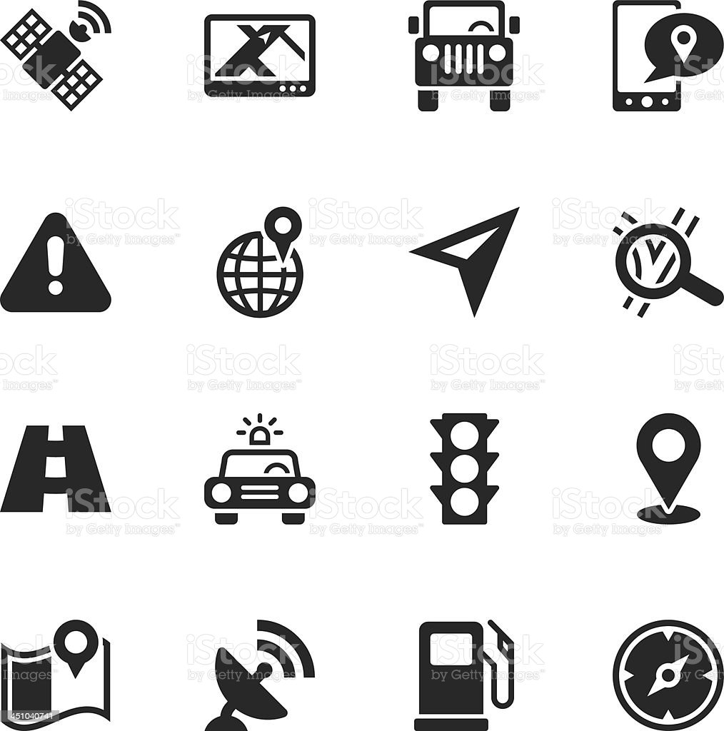GPS Silhouette Icons vector art illustration