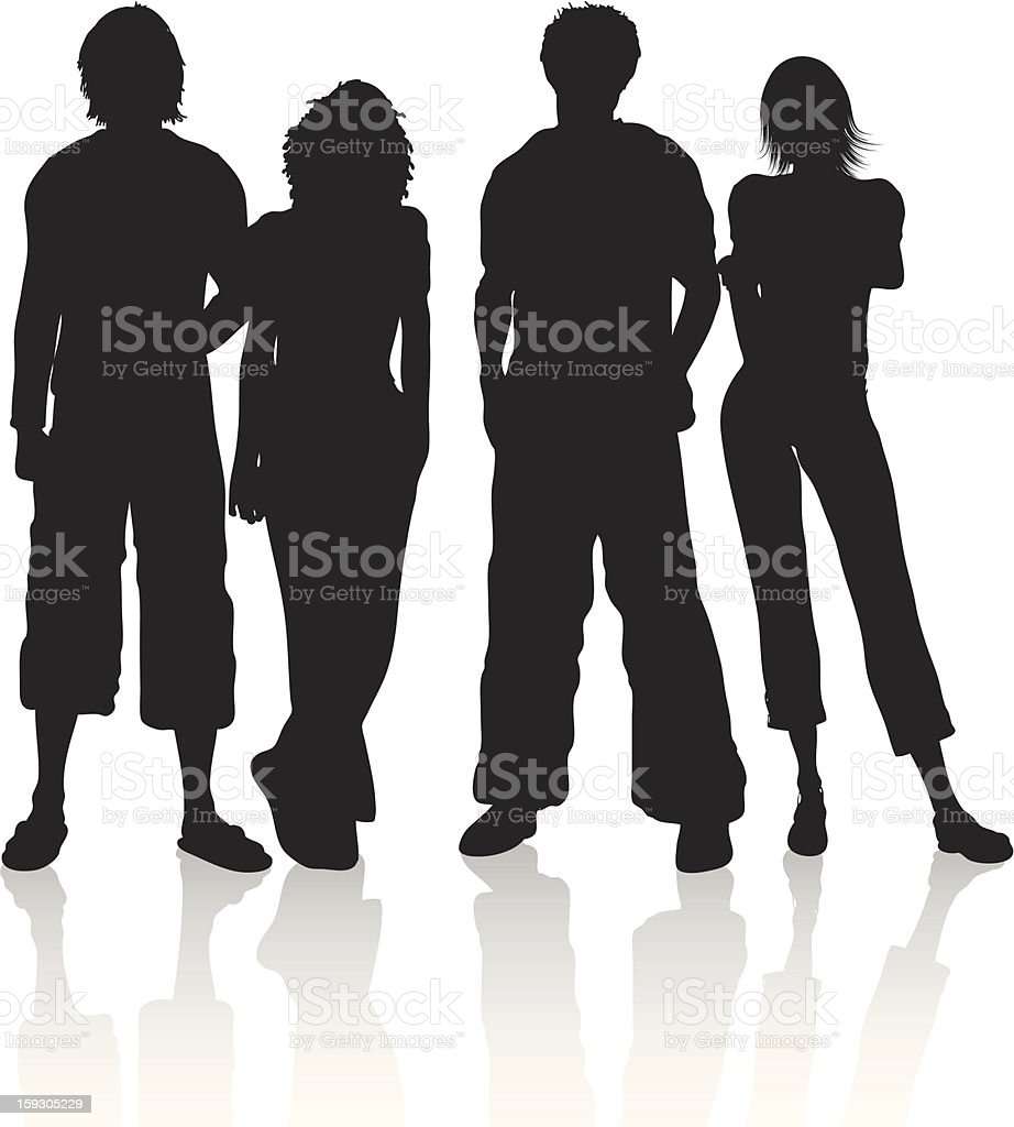 A silhouette illustration of a group of friends vector art illustration
