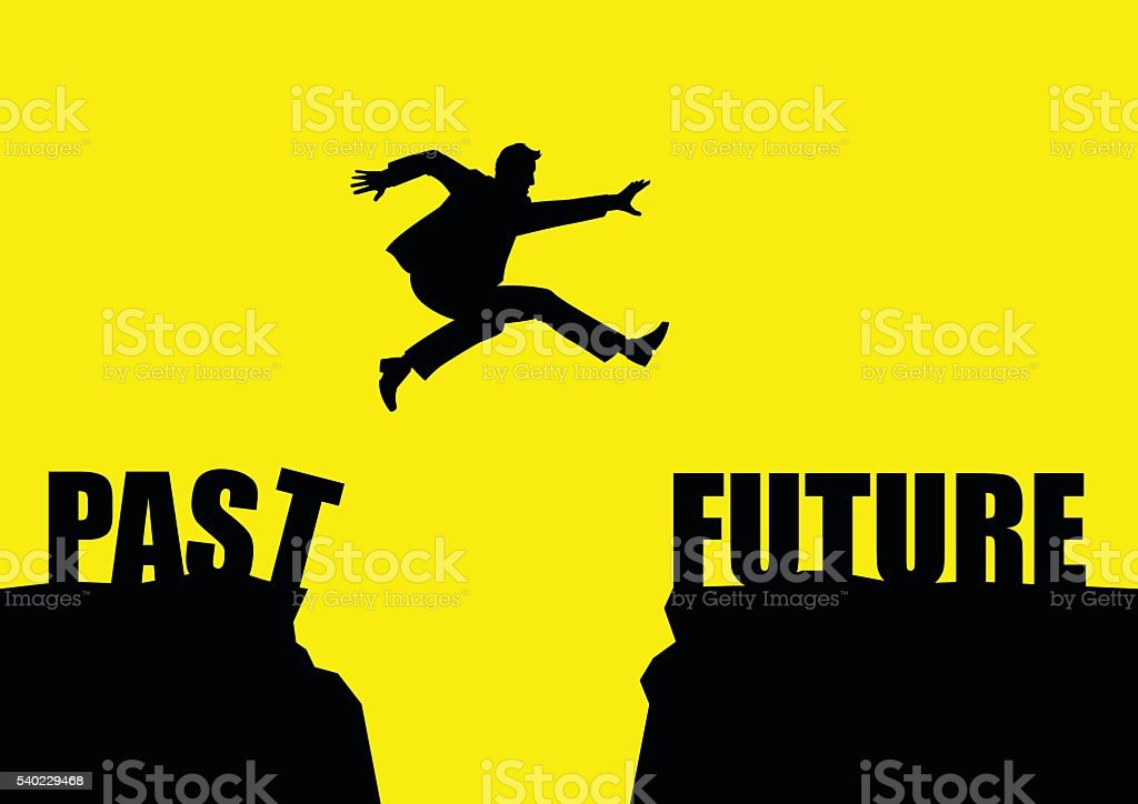 Silhouette illustration of a man jumps from past to future vector art illustration