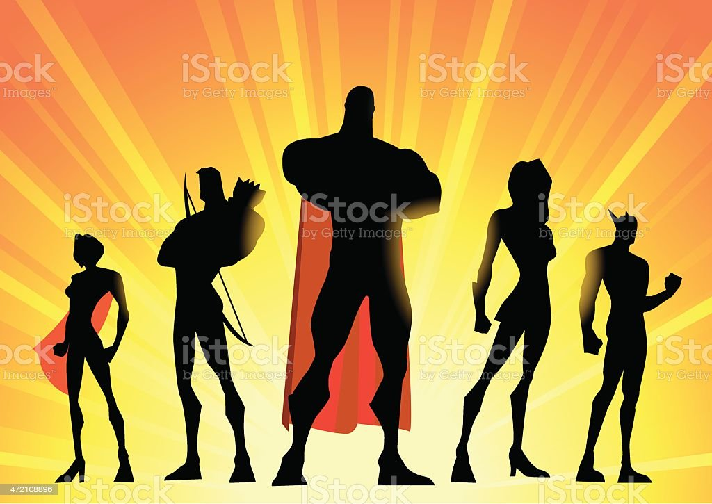 Silhouette illustration of a team of superheroes over yellow vector art illustration