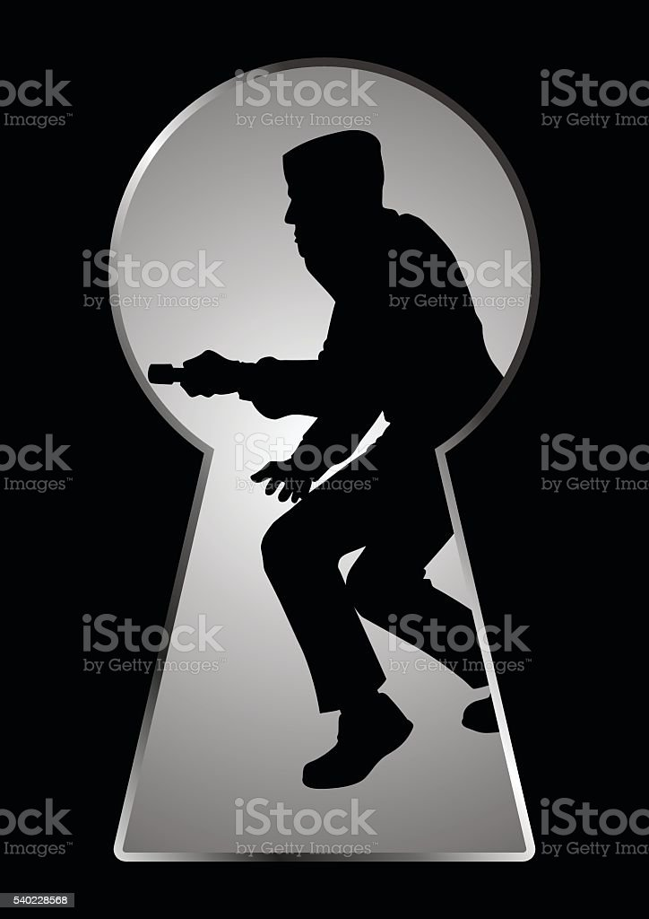 Silhouette illustration of a thief seen through a keyhole vector art illustration