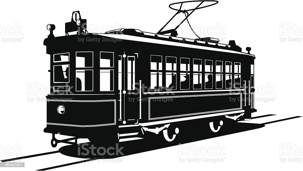 Silhouette illustration of a tramway over a white background vector art illustration
