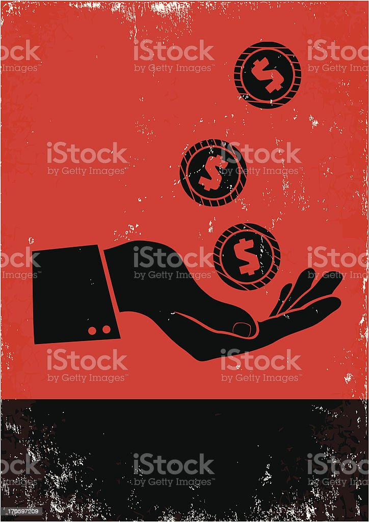 Silhouette illustration of coins falling on a hand vector art illustration