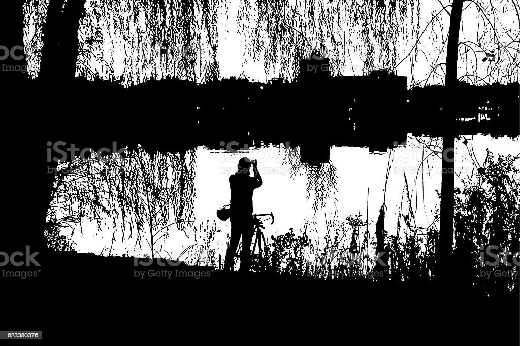Silhouette Illustration of Cyclist Stopping To Take Photo of Lake vector art illustration