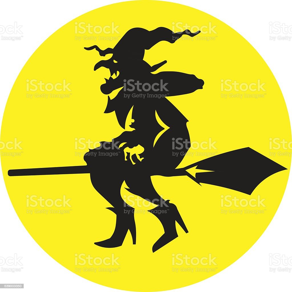 Silhouette illustration witch flying on a broomstick. vector art illustration