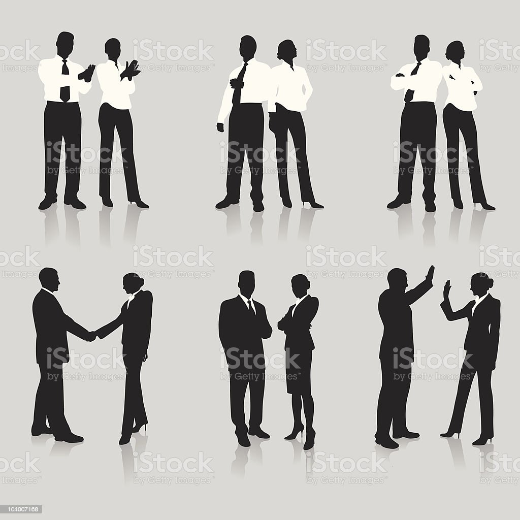 Silhouette illustrations of young business men and women vector art illustration