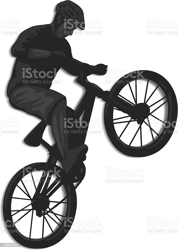 Silhouette image of a male doing a bike jump trick vector art illustration