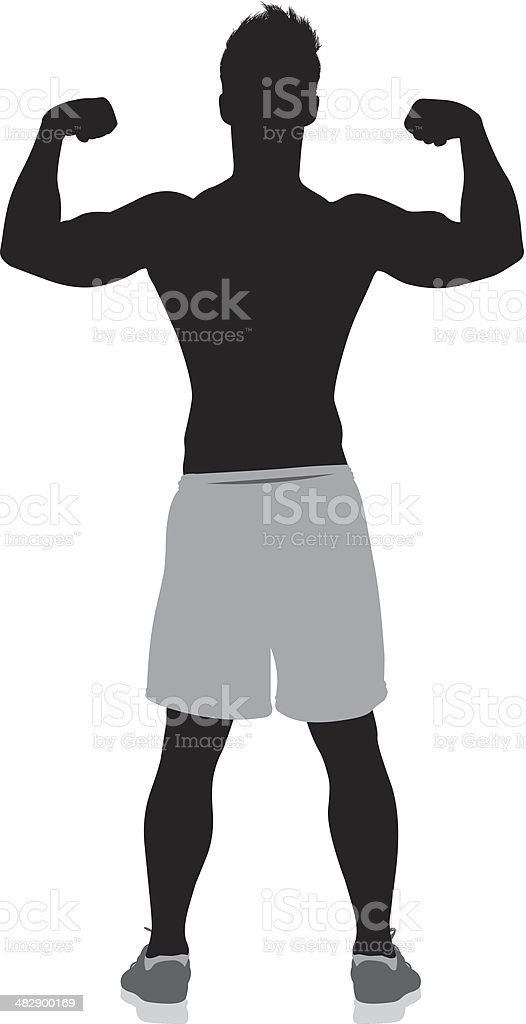 Silhouette image of a shirtless man flexing muscles royalty-free stock vector art