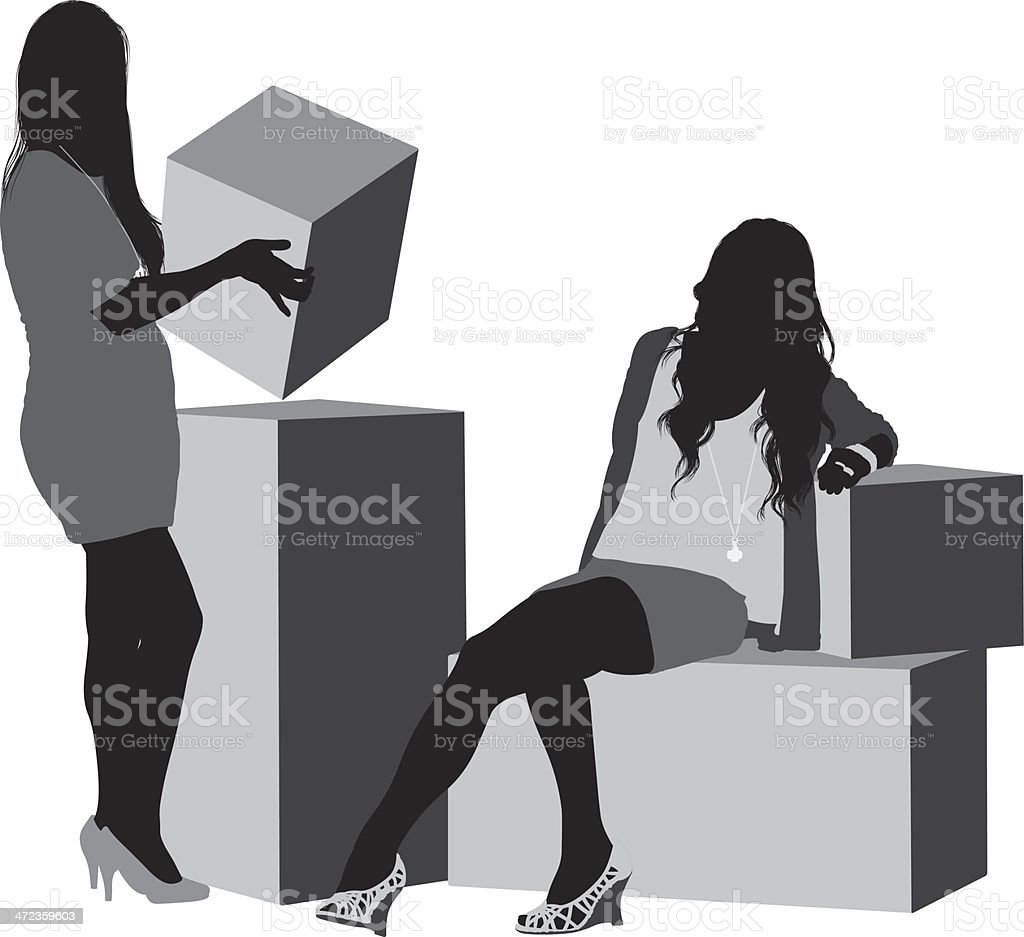 Silhouette image of female friends with boxes royalty-free stock vector art