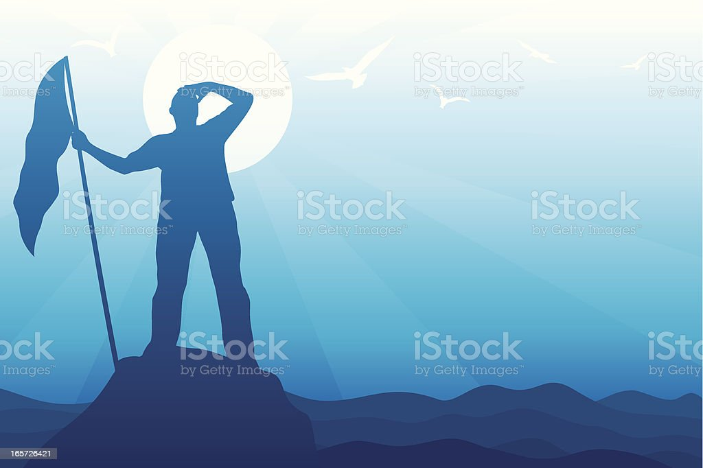 Silhouette in blue of a man at the summit with a flag royalty-free stock vector art