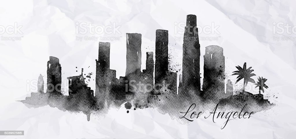 Silhouette ink Los Angeles vector art illustration