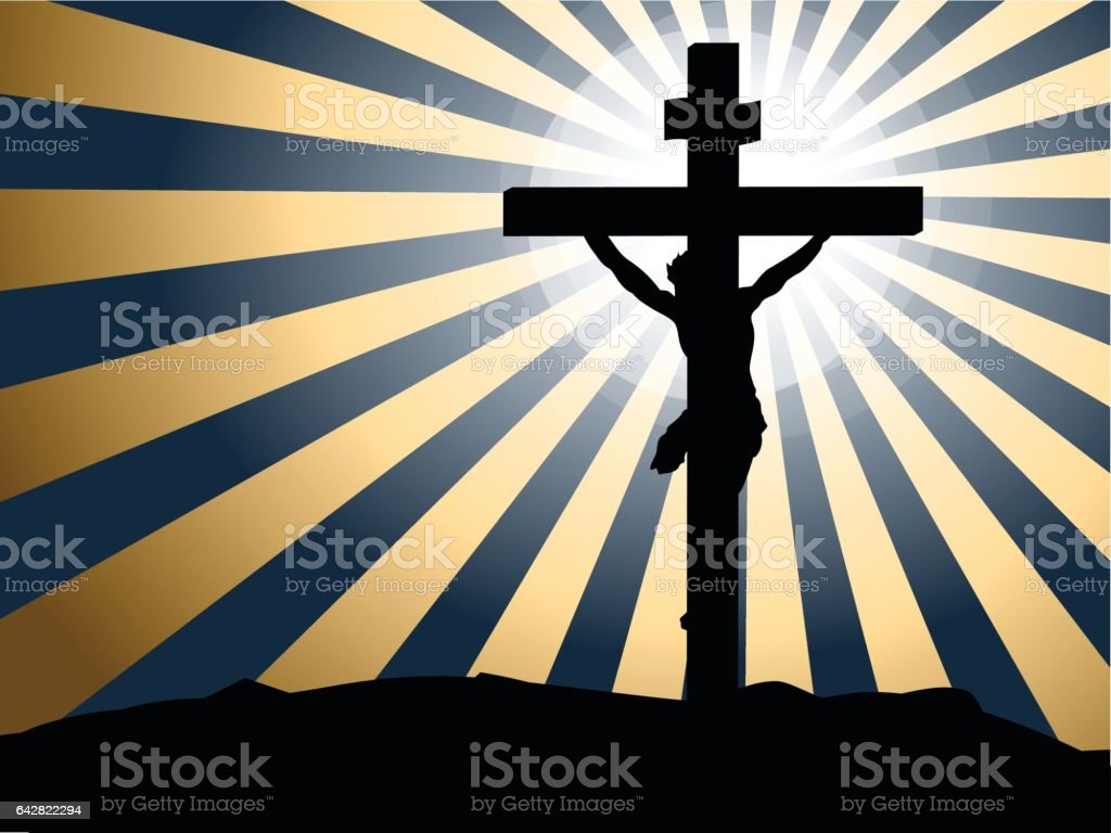 Silhouette Jesus crucifixion against rays of light background vector art illustration