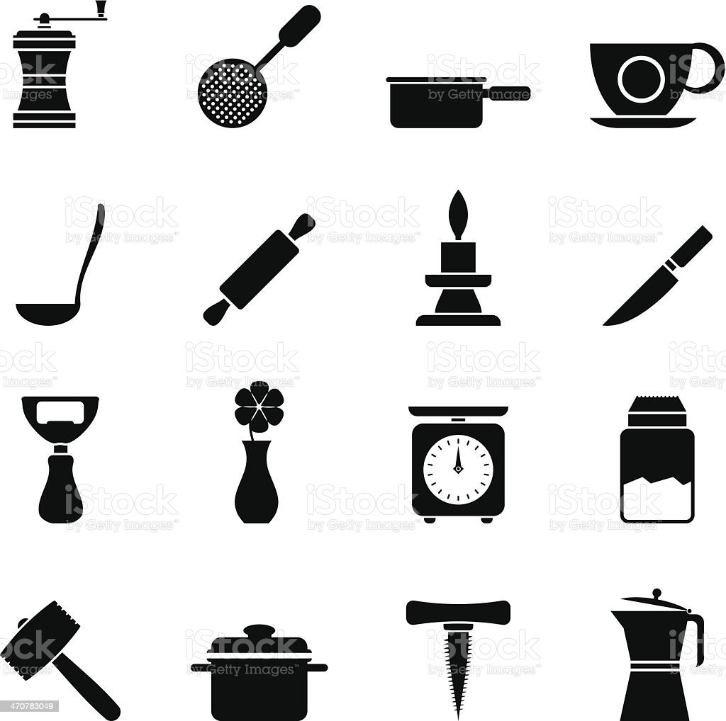 Silhouette Kitchen and household tools icons vector art illustration