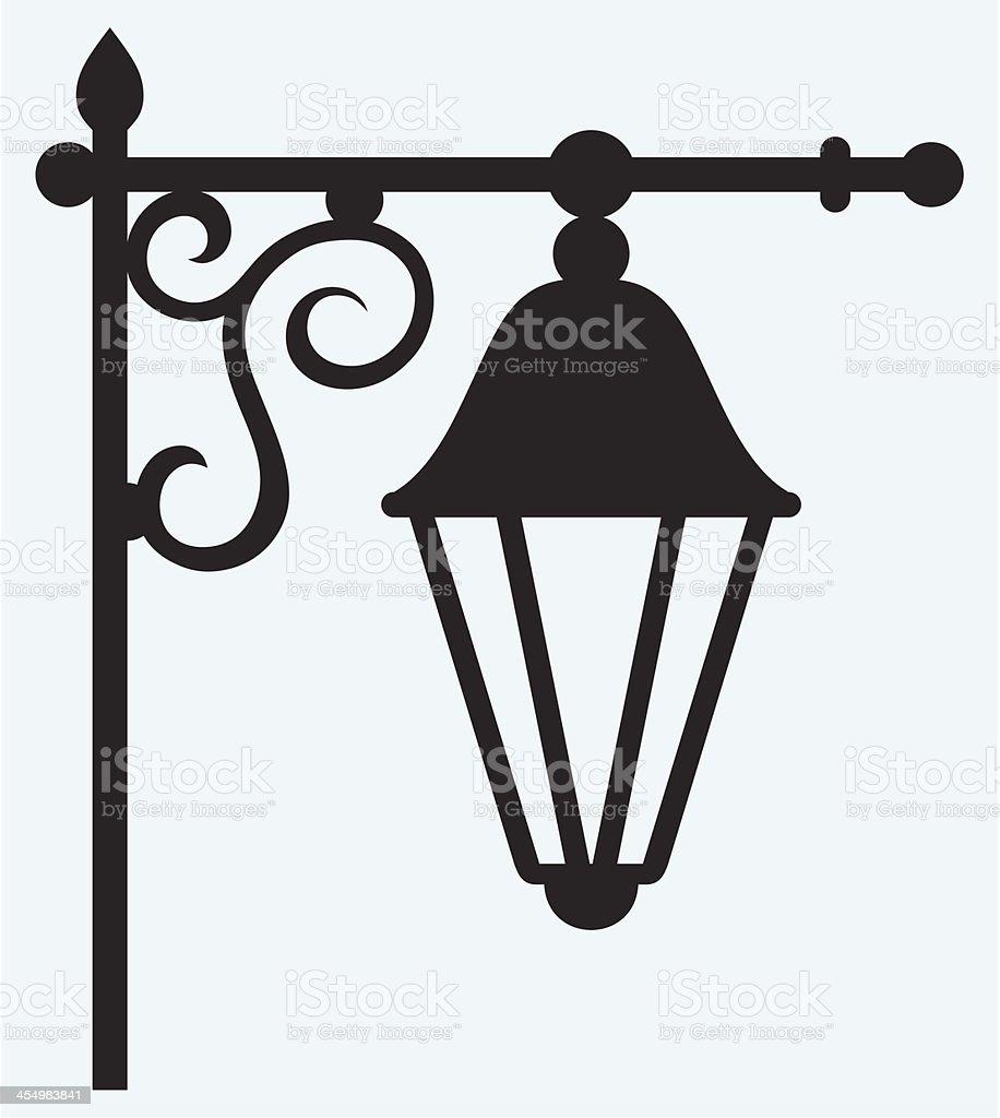 Silhouette lamp of wrought metal vector art illustration