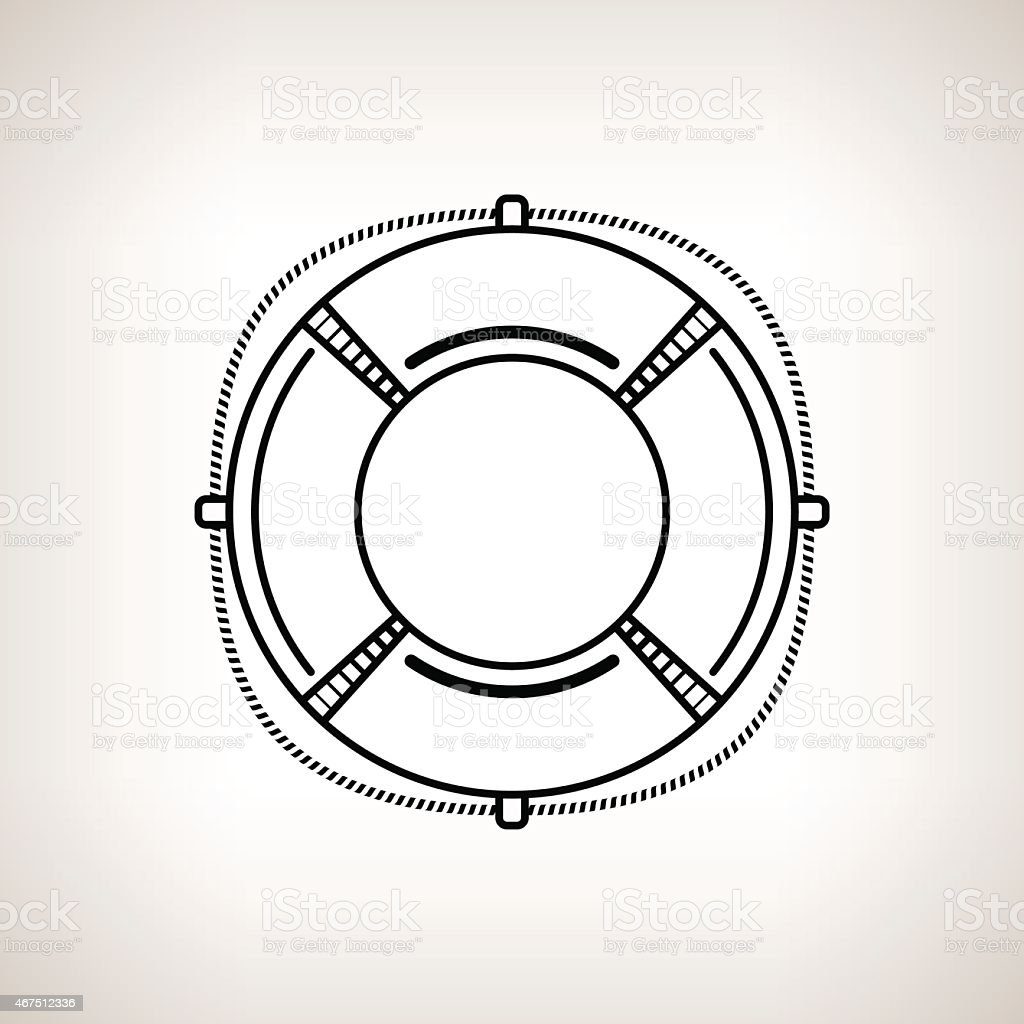 Silhouette lifebuoy on a light background vector art illustration