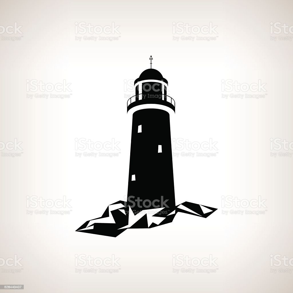 Silhouette lighthouse on a light background , vector illustration vector art illustration