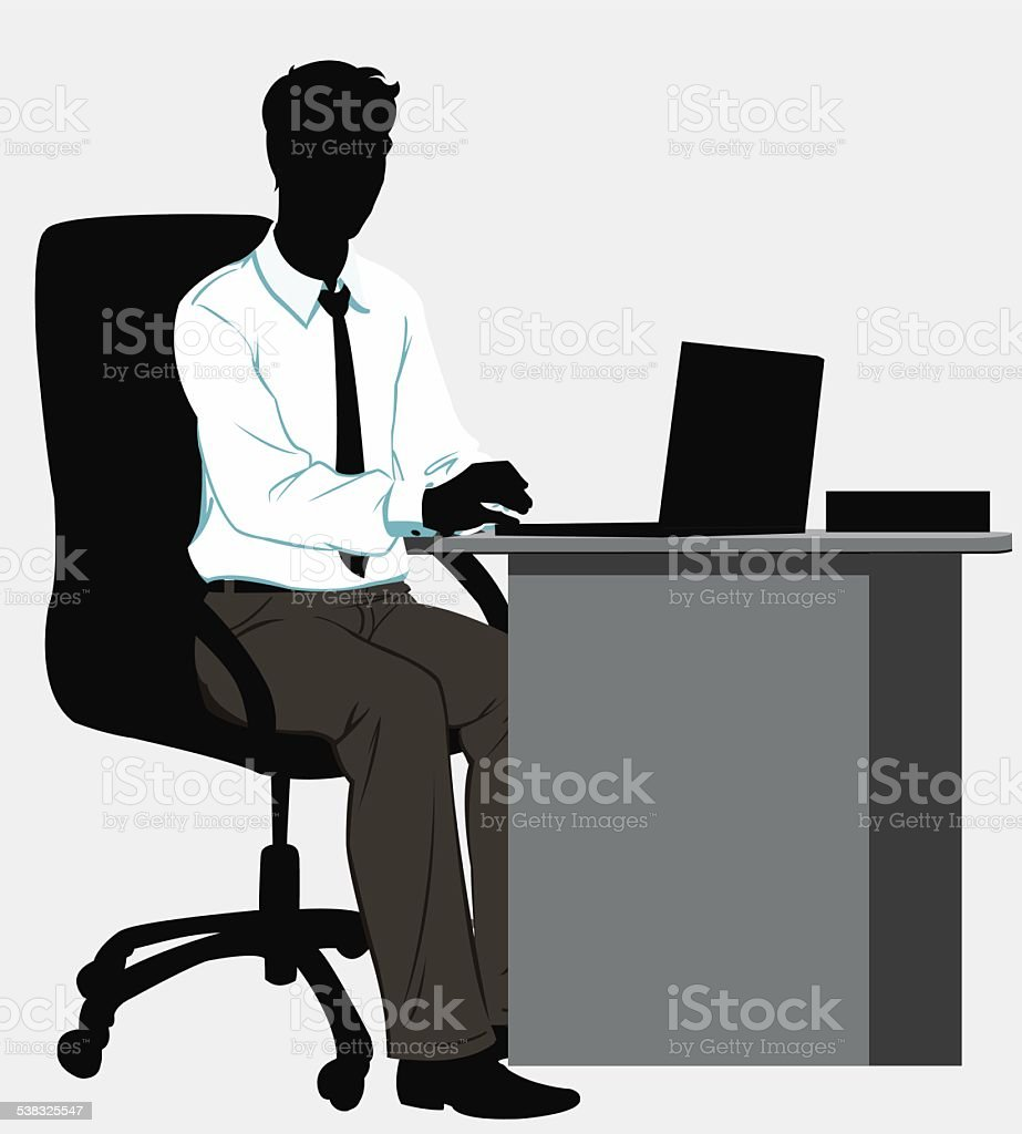 silhouette man at the Desk with laptop royalty-free stock vector art