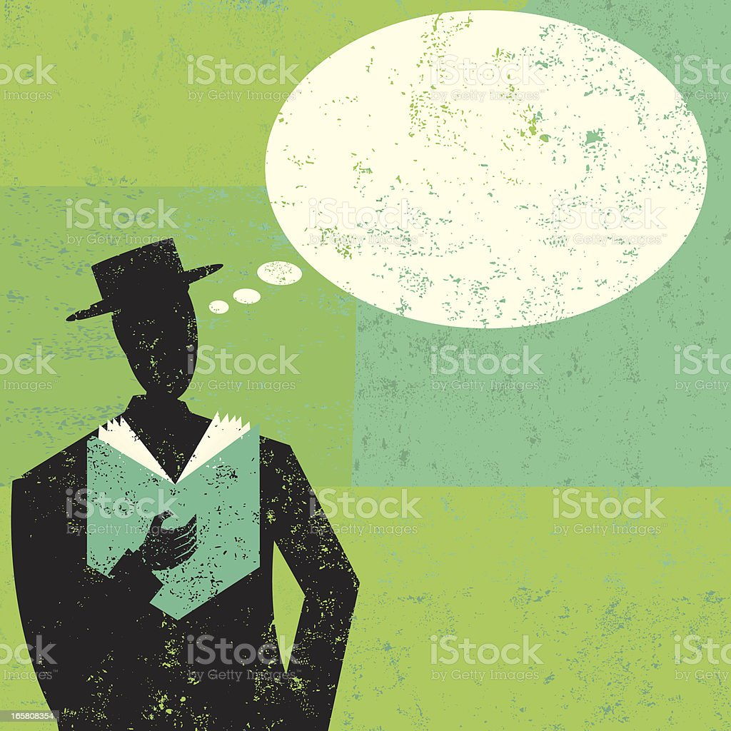 Silhouette man reading book on green shaded background royalty-free stock vector art