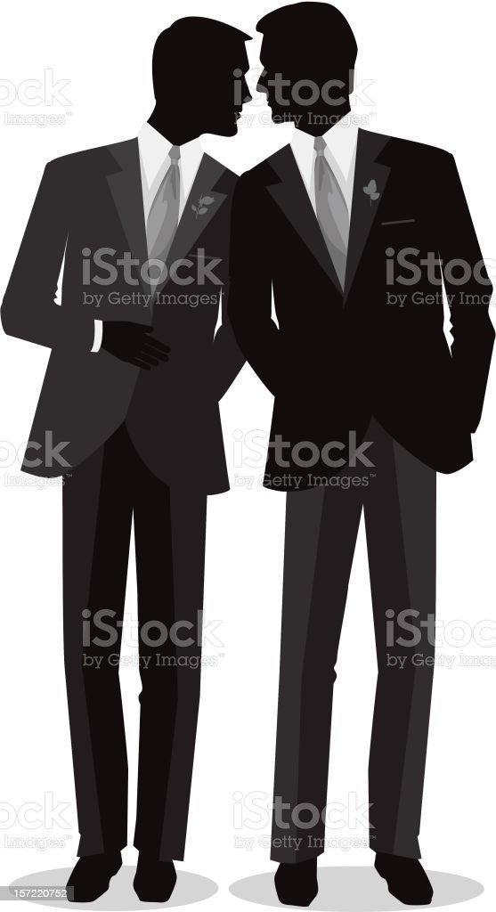 Silhouette Men Gay Marry vector art illustration