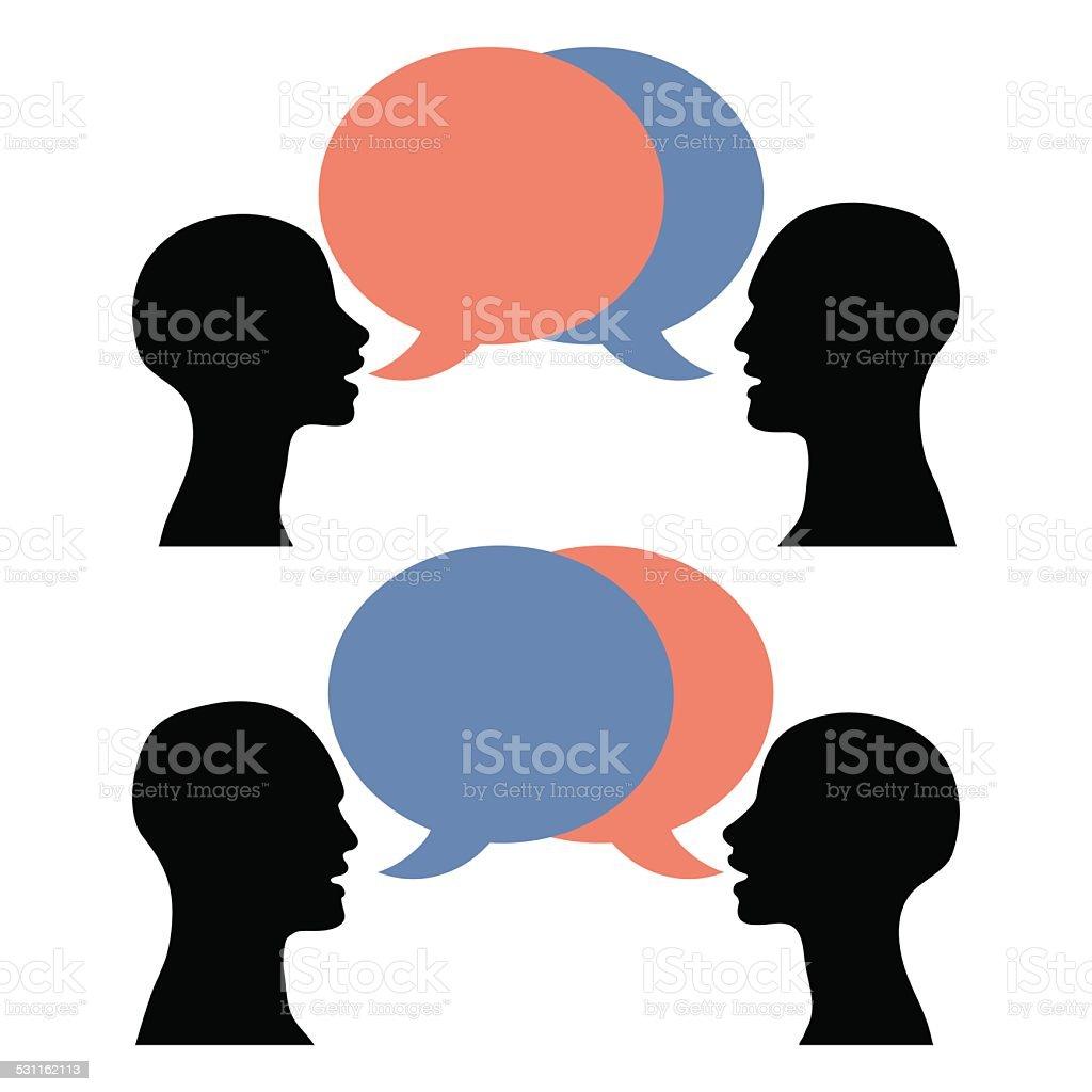 silhouette men women talking vector art illustration