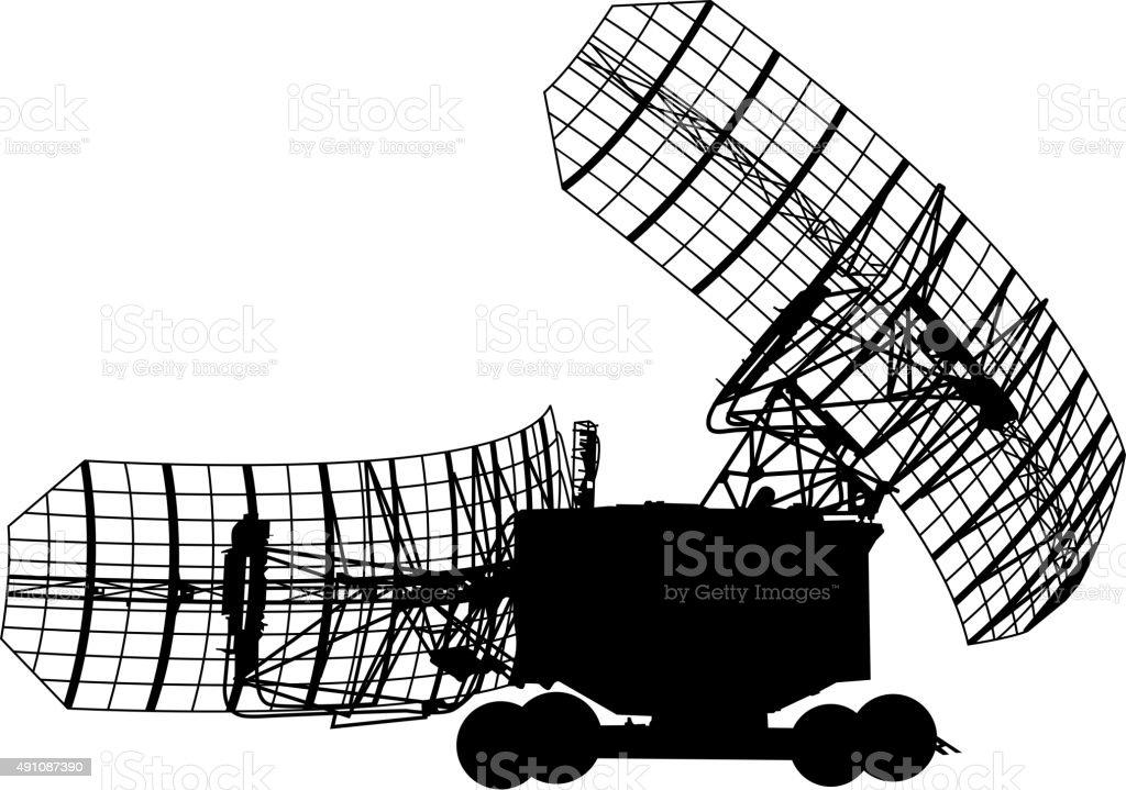 Silhouette  military radar dish. Vector illustration. vector art illustration