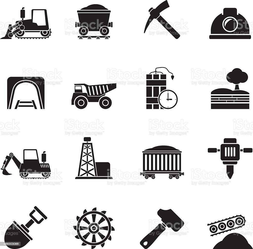 Silhouette Mining and quarrying industry icons vector art illustration