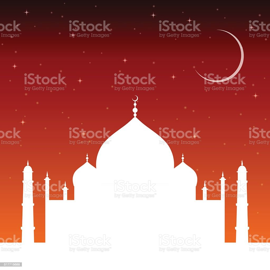 silhouette mosque sunset with stars and crescent moon. Islam architecture. vector art illustration