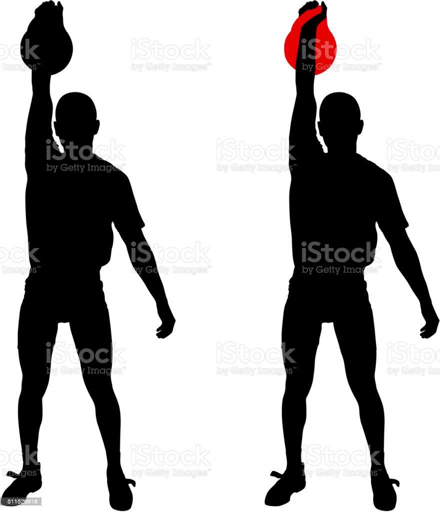Silhouette muscular man holding kettle bell.  Vector illustration. vector art illustration
