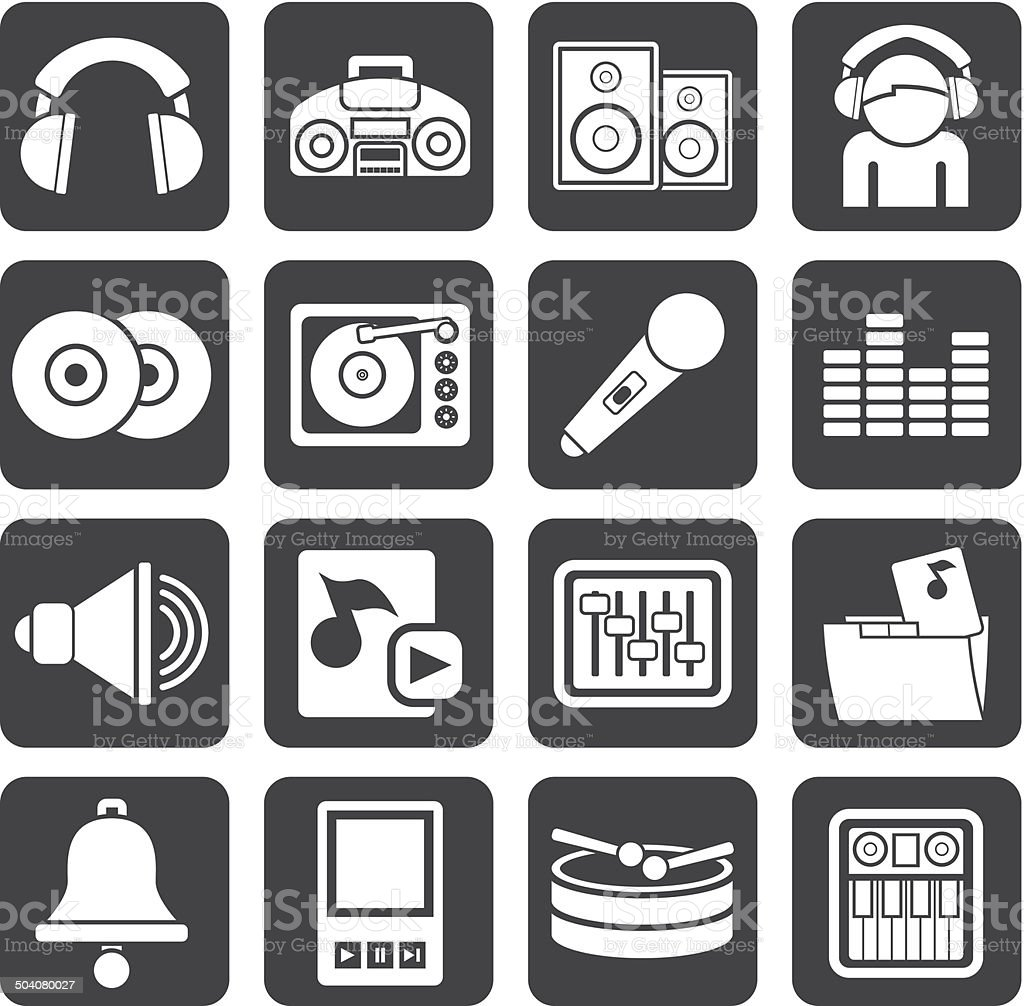 Silhouette Music and sound Icons vector art illustration