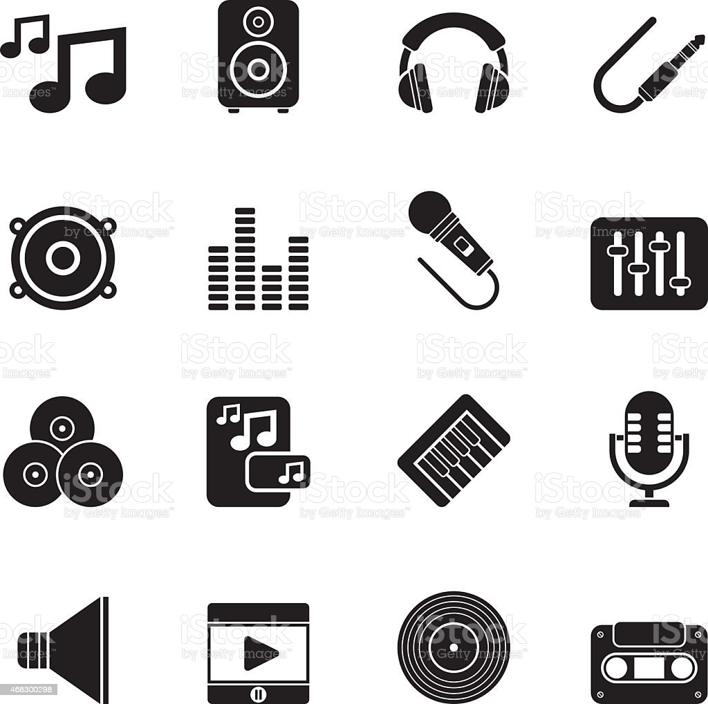 Silhouette Music, sound and audio icons vector art illustration