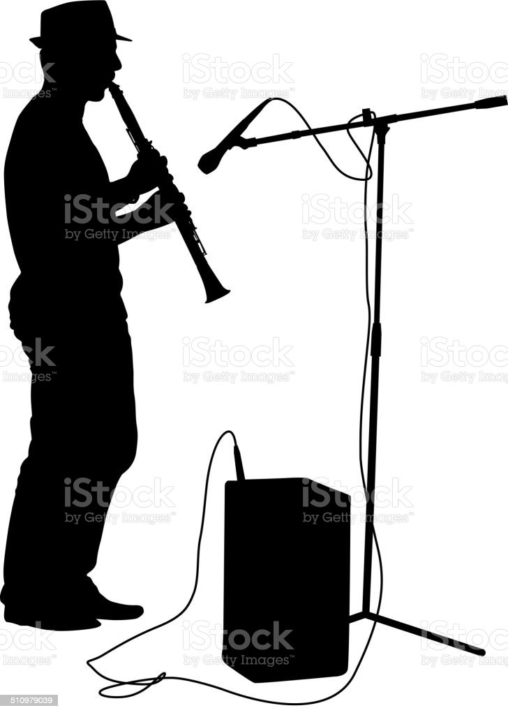 Silhouette musician plays the clarinet. Vector illustration. vector art illustration