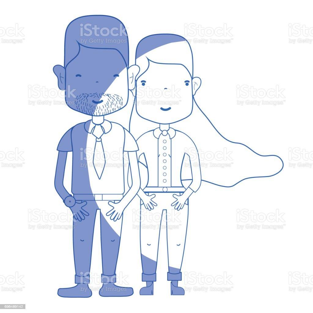 髪型と私服シルエットの素敵なカップル のイラスト素材 696489142 | istock