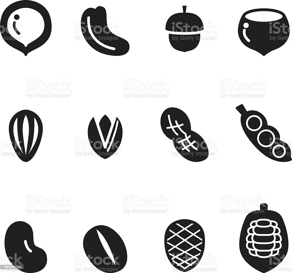 Silhouette Nut icon Set vector art illustration