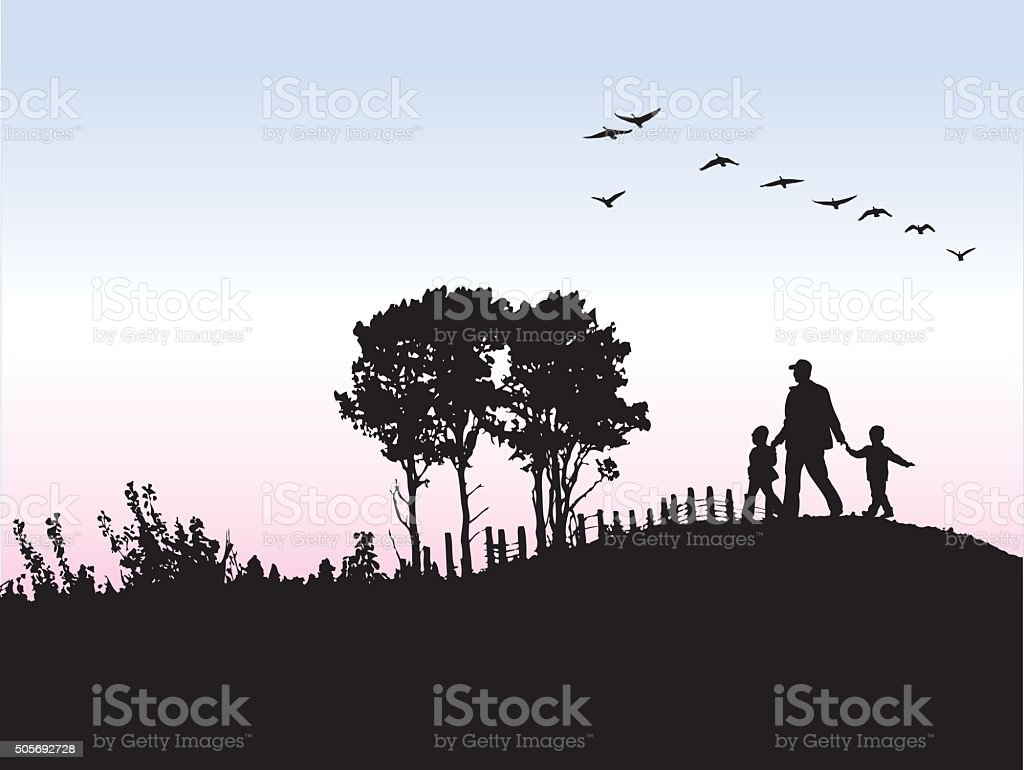 Silhouette O Father And His Kids Outdoors vector art illustration