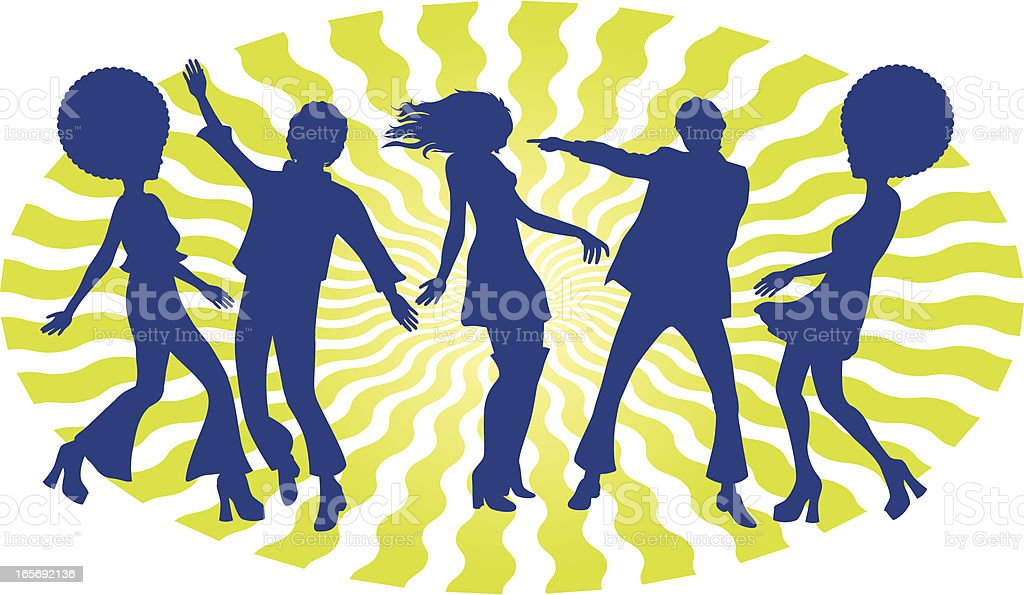 Silhouette of 5 boogie dancers with 60s hairstyle royalty-free stock vector art