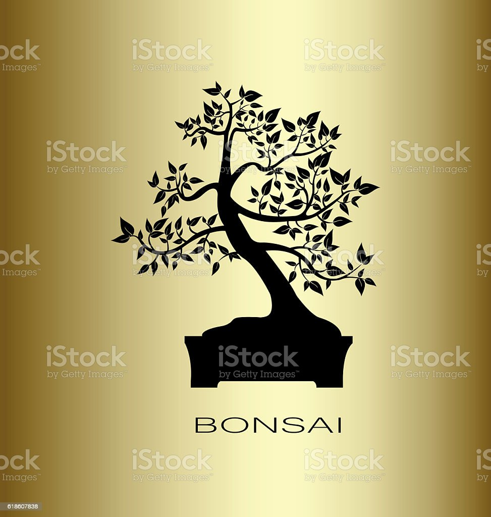Silhouette of a bonsai tree vector art illustration