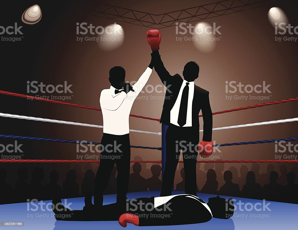 Silhouette of a boxing champion who has knocked down other vector art illustration