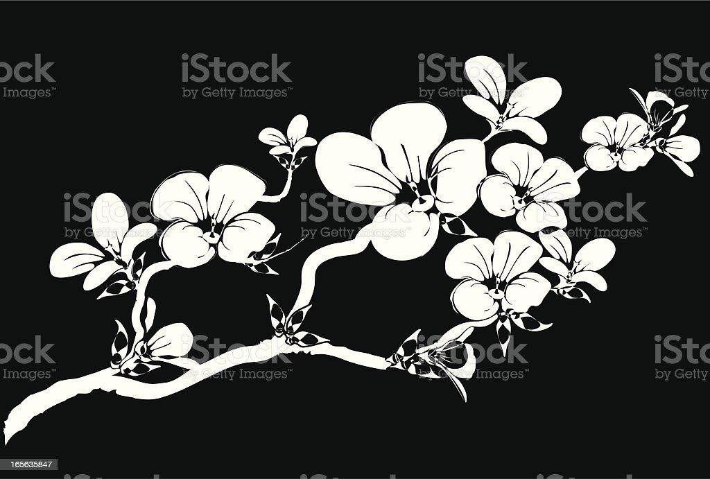 Silhouette of a branch abloom royalty-free stock vector art