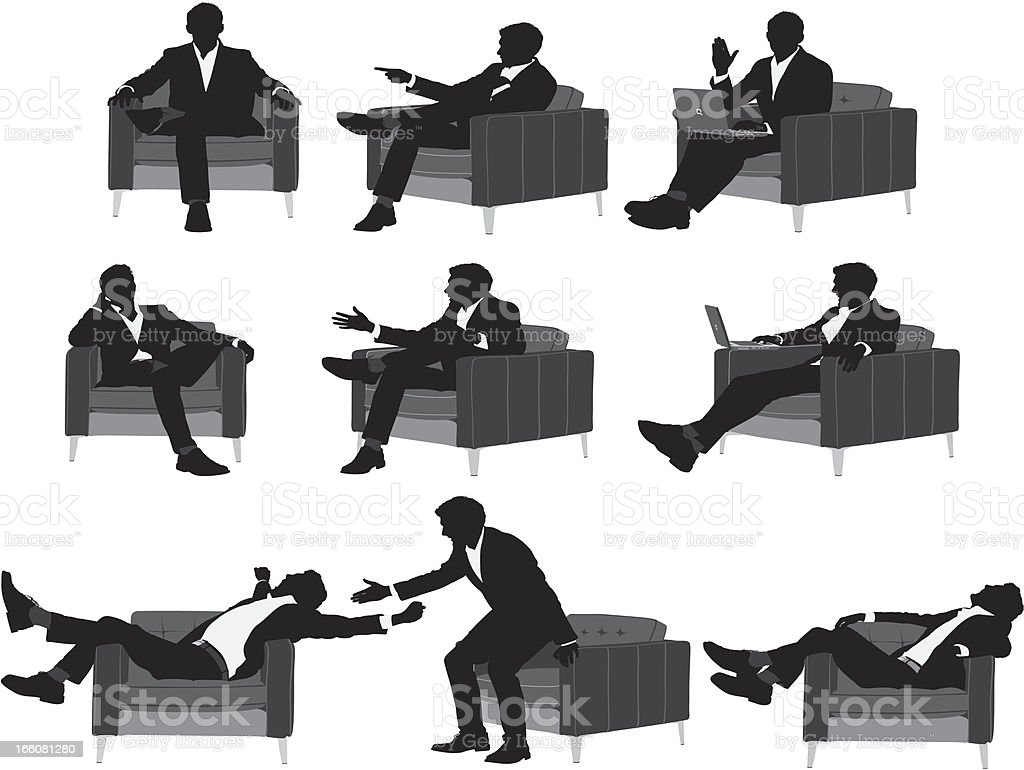 Silhouette of a businessman in different poses vector art illustration