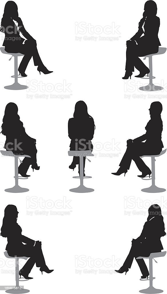Silhouette of a businesswoman sitting on chair vector art illustration