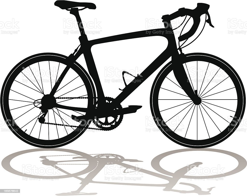 Silhouette of a carbon fiber road racing bicycle vector art illustration