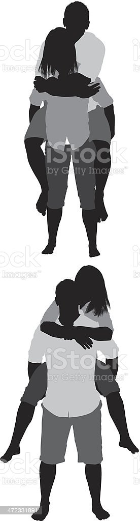 Silhouette of a couple riding piggyback vector art illustration