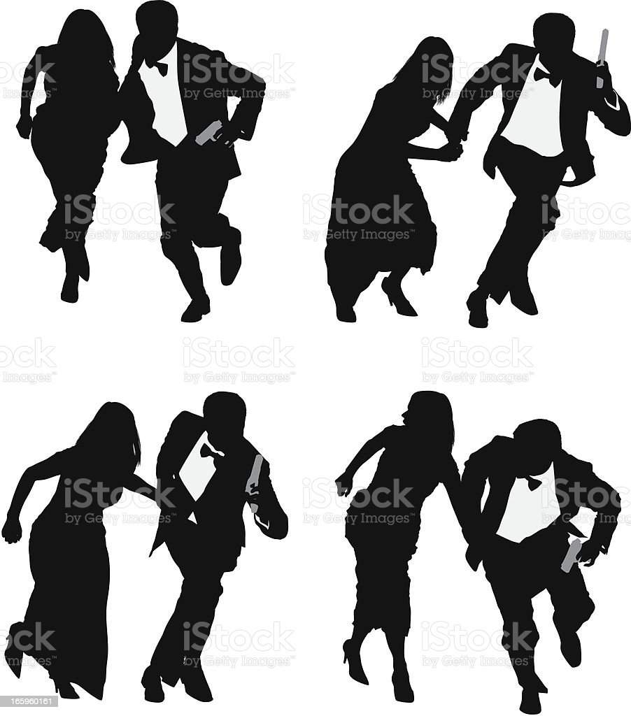 Silhouette of a couple running vector art illustration