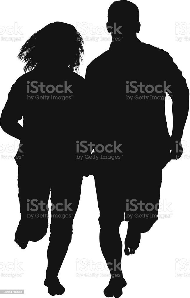 Silhouette of a couple running royalty-free stock vector art