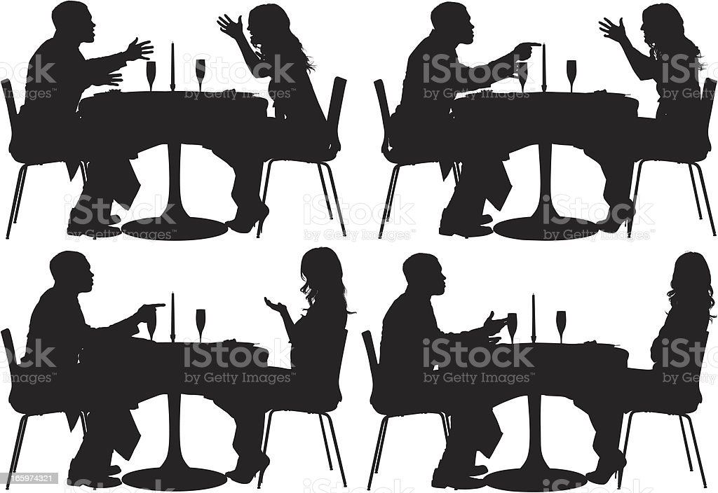 Silhouette of a couple sitting in restaurant royalty-free stock vector art