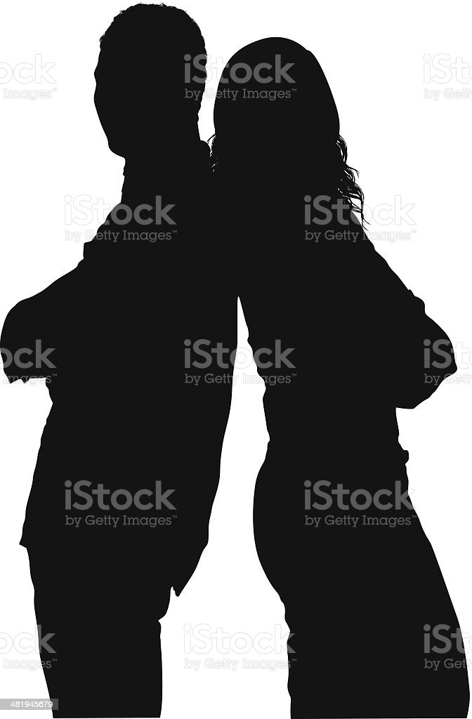 Silhouette of a couple standing together vector art illustration