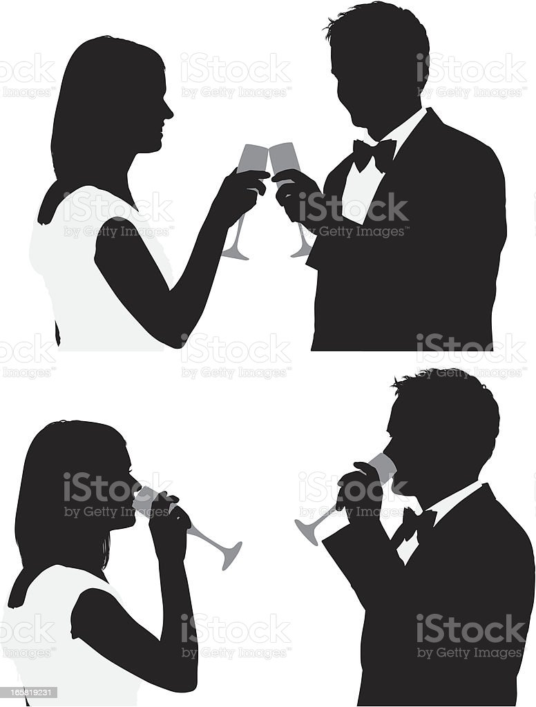 Silhouette of a couple with champagne royalty-free stock vector art
